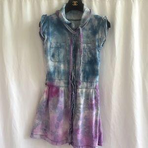 Vintage Tie Dye Acid Wash Denim Dress